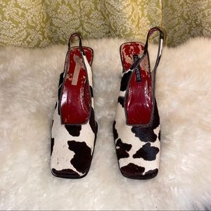 🌈 Vintage 90s cow print square toe sling backs